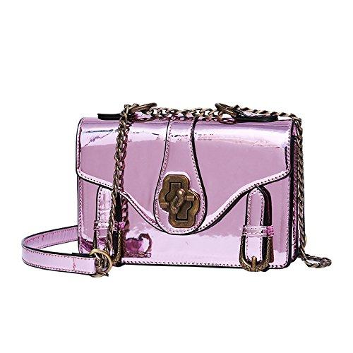 DHFUD Bolso De Mensajero De La Cruz Del Laser Ocasional De La Moda De Las Mujeres Pink