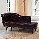 Giantex Chaise Lounge Sofa w/ Nail Head Back, Sofa Chair for Bedroom, Living Room Furniture, Home Fainting Sofa Couch, Brown