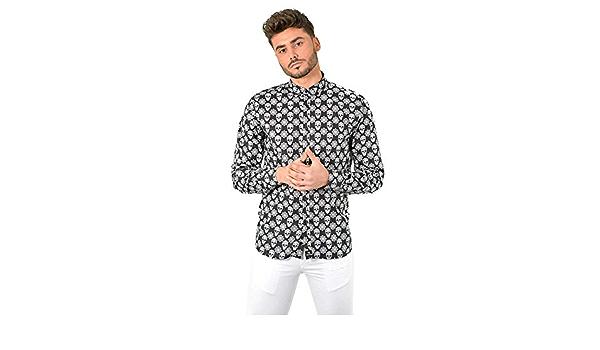 DIVARO - Camisa Estampado Calaveras Manga Larga Color Negro ...