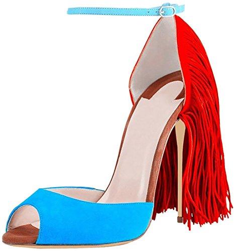 Donne Frangia Tallone Aiweiyi Plateau Cinturino Decorazione Alla Caviglia Sandalo Blu Sandali Cinturino 6qHnxa