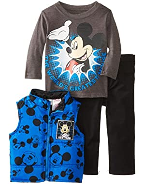 Baby Boys' Mickey Mouse 3 Piece Nylon Vest Set