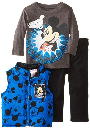 Disney Baby Boys' Mickey Mouse 3 Piece Nylon Vest Set, Blue, 24 (Nylon Print Vest)