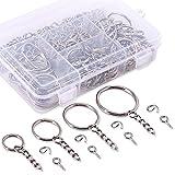 Swpeet-300Pcs-Sliver-Key-Chain-Rings-Kit-100Pcs-Keychain-Rings-with-Chain-and-100Pcs-Jump-Ring-with-100Pcs-Scr