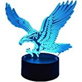Carl Artbay Eagle Bald Eagle 3D Stereo Vision Fashion LED Animal Night Light USB Touch 7 Colors/Remote Control 16 Color Acrylic Bedroom Table Lamp Creative Home Office Decoration Model Toy Gift