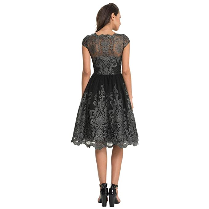 KEERADS Womens Vintage Formal Evening Short Sleeve Lace Swing Party Dress (Tag XL=UK L, Dark Gray): Amazon.co.uk: Kitchen & Home