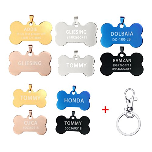 iMucci Colorful Dog Bone Personalized Customise ID Tag Cat Name & Phone Number Engraved Hangtag Card (Dog Rose Tag)