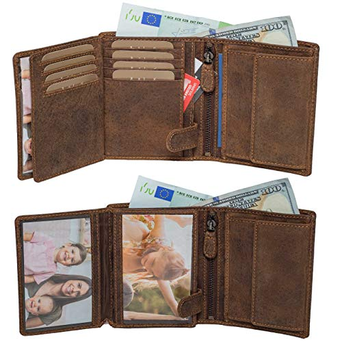 Mens Wallets by DiLoro Italy Fullsize Bifold Double Flip ID Leather Wallet Vertical Slots Coin and YKK Zip Compartment RFID Protection Full Length Billfold Separator in Dark Hunter Brown ()