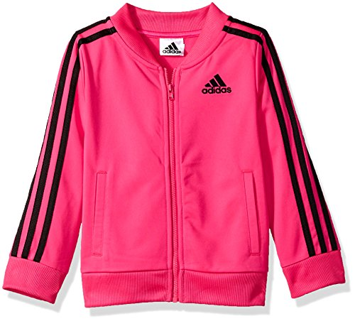 adidas Girls' Big Tricot Bomber Track Jacket, Shock Pink, Medium