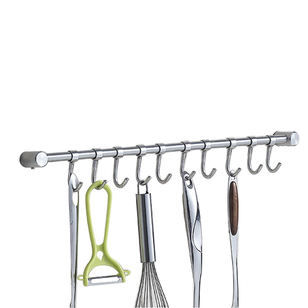 Kitchen Wall Hanging Cookware Rack with 10 Adjusted Hooks, Wall Mount Rail, Utensil Storage Organizer Rcks, Neatly Organizes, Stainless Steel, Brushed Nickel, Lenght 19-5/8 inch