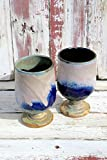 Set of Two Lavender Matt and Blue Wine Glasses #04, Ceramic Wine Glasses, Ceramic Wine Chalice, Handmade Wine Goblets