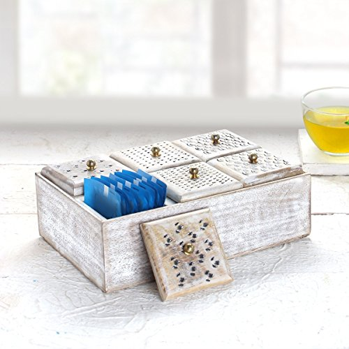 Store Indya Wooden Tea Box Chest Organizer Coffee Spices Holder 6 Compartments Kitchen Accessories Cases Storage Hand Carved Design With Brass Knobs In White Distress Vintage Style (Knobs Brass Legacy)