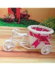 Flower Basket, Planter Basket, Woven Basket,with Handle, Hand-Woven Plant, Pastoral Style, Bicycle Shape Decor, Size: 11 * 11 * 22CM,C