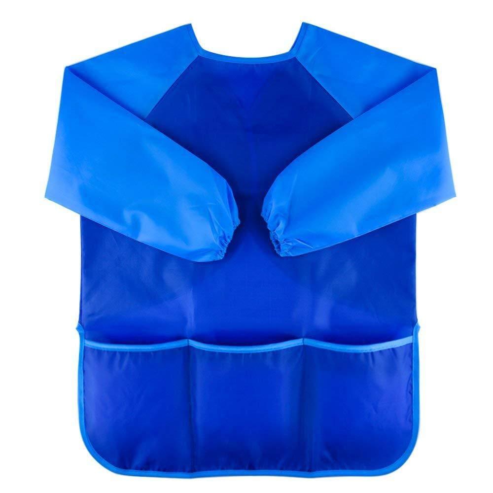 wawhy Malschürze Kinder Malkittel Bastelschürze 2-6 Jahre Langarm mit Klettverschluss(Blau) KJ00G