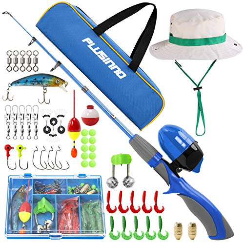 PLUSINNO Kids Fishing Pole,Portable Telescopic Fishing Rod and Reel Full Kits, Spincast Youth Fishing Pole Fishing Gear for Kids, Boys (Blue Handle with Bag&Hat, 120CM 47.24IN)