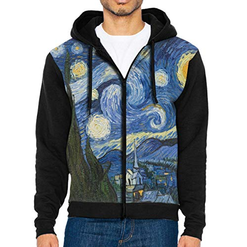 Men Hoodie Vincent Van Gogh Art Oil Painting Starry Night Stylish Full Zip with Pocket Sweatshirt Lightweight Halloween -