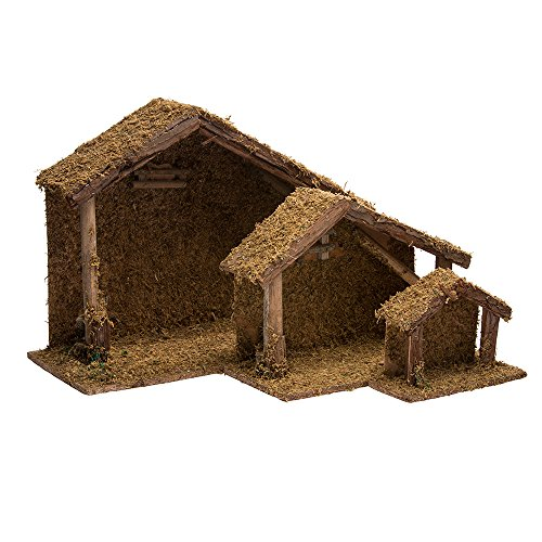 Kurt Adler Wooden Stable, 6.7-Inch to 18.5-Inch, Set of 3 (Nativity Small Stable)