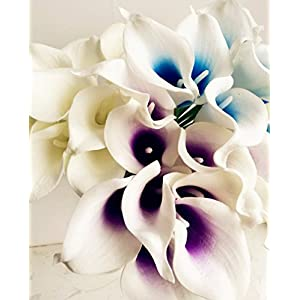 jiumengya 20pcs Blue Heart Color Artificial Real Touch Calla Lily Life Like Callas Flower for Wedding Bouquet Artificial Decorative Flowers (Blue) 2