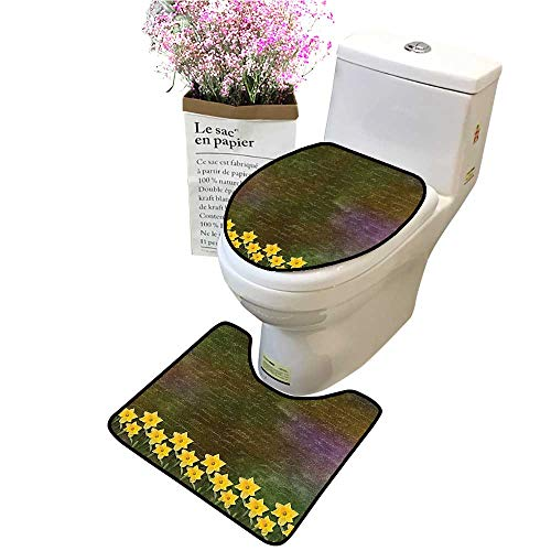 2 Piece Bathroom Mat Pedestal Rug Bath Mat Potted Daffodils Under Calligraphy Letter Featured Flower SPR Brown Contour Toilet Mat and Toilet ()