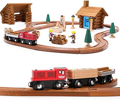 SainSmart Jr. Toddler Wooden Train SetLog Cabin Building Blocks - 100 PCS Real Wood Logs - Lumber Mill - Buildable Train Tracks Construction Toy for 345 Year Old Boys and Girls