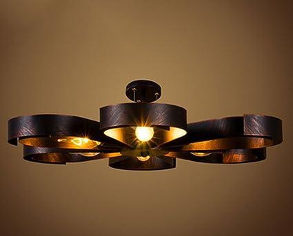 ZHDC® Deckenleuchten, American Style Retro Deckenleuchte Loft Kreative  Persönlichkeit Cafe Iron Industrieleuchten Ultra Dünne