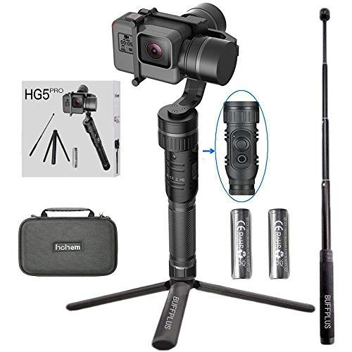 Hohem 3 Axis Stabilizer Handheld Aluminum Electronic Full 360 Degrees Gimbal for Gopro Hero 5/4/3, Yi Cam 4K, AEE Sports Cams - APP Controls for iPhone/Android Phone (HG5 Pro)