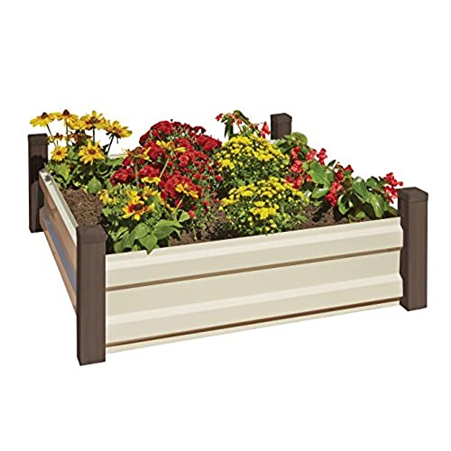 Arrow RBG44 Hot Dipped Galvanized Steel Raised Garden Bed, Espresso/Latte,  4u0027 X 4u0027