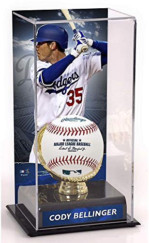- Sports Memorabilia Cody Bellinger Los Angeles Dodgers Sublimated Display Case with Gold Glove Holder - Baseball Free Standing Display Cases