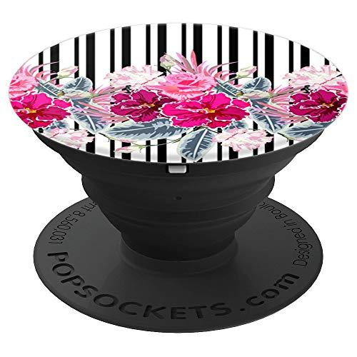 (Vertical Stripes Floral Design Pop Socket: PopSocket Floral - PopSockets Grip and Stand for Phones and Tablets)