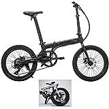 Qualisports 20in Hybrid Electric Mountain Bike Mini Foldable ebike with Fenders Lithium-ion Battery(36V 350W Hub Motor)+Disc Brakes+Folding Frame+Multi-Function LCD