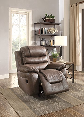 Leatherette Rocker Recliner In Dark Coffee Brown by Poundex