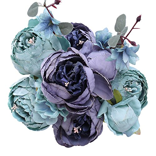 StarLifey Fake Spring Flowers Vintage Artificial Peonies Bouquet Home Wedding Decoration Flowers Bunch Confession Bouquet (New Grey (Blue Hydrangeas Centerpieces)