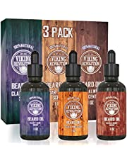 Visit the Viking Revolution Store Beard Oil Conditioner 3 Pack - All Natural Variety Gift Set - Sandalwood, Pine & Cedar, Clary Sage Conditioning and Moisturizing for a Healthy Beards, Great Gift Item by Viking Revolution