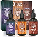 BEST DEAL Beard Oil Conditioner 3 Pack - All Natural Variety Gift Set - Sandalwood, Pine & Cedar, Clary Sage Conditioning and Moisturizing for a Healthy Beards, Great Gift Item by Viking Revolution