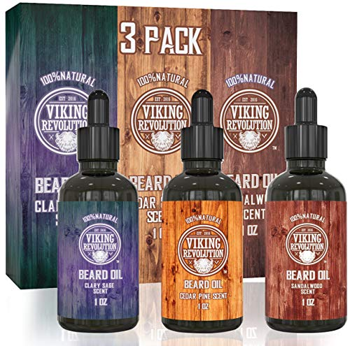Beard Oil Conditioner 3 Pack – All Natural Variety Gift Set – Sandalwood, Pine & Cedar, Clary Sage Conditioning and Moisturizing for a Healthy Beards, Great Gift Item by Viking Revolution