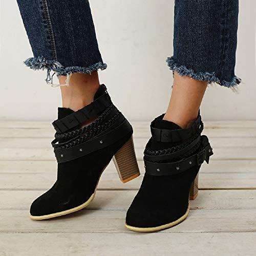 8cm Gris 35 Tacón Mujer Transpirable Botas Zapatos Hebilla 43 Con Cuña Botines De Piel Romano Rojo Negro Otoño Cremallera Calzado Altos Fiesta Vestir Chelsea qUC1U