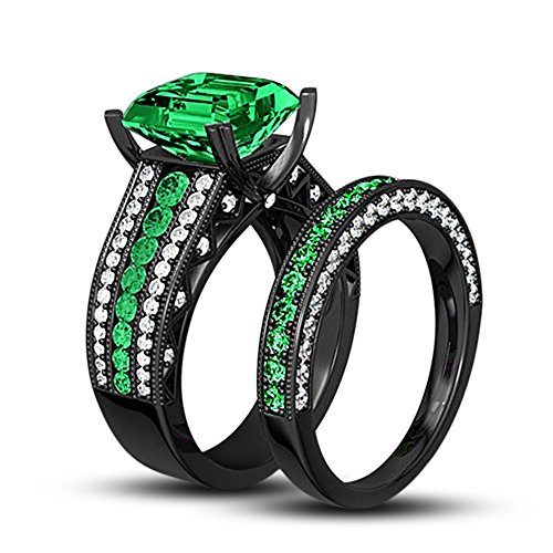 TVS-JEWELS Black Rhodium Plated Sterling Silver 925 Green Sapphire & White Cubic Zirconia Solitaire With Accents Women's Wedding Ring Set - Sapphire Solitaire Green