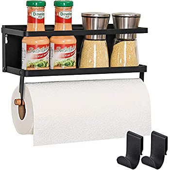 Eastore Life Magnetic Spice Rack with Paper Tower Holer, Wall Mounted Spice Rack Shelf for Refrigerator with 2 Removable Hooks, Black, No Assemble Required