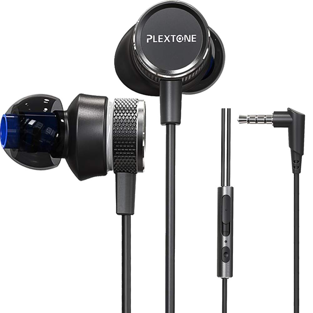 Gaming Earphones,Pasuwisma Earbuds Wired Stereo Bass in-Ear Headphones E-Sport Noise Cancelling Compatible with Mic, HiFi with Extension Cable and Adapter for PC, Laptop and Cellphones. Black