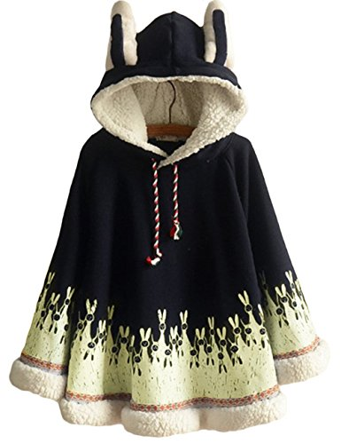 ASHER FASHION AsherFashion Womens Hooded Pullover Sweater Hoodie Cute Shawl Cape (One Size, Navy) - Girls Hooded Poncho