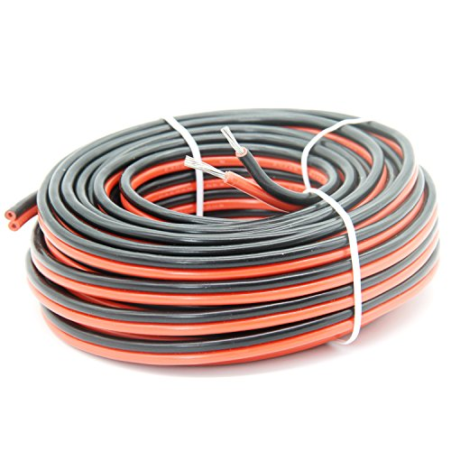 16AWG Electrical wire 2 Conductor parallel wire 66ft [Black 33ft Red 33ft] 20M Extension Cable Wire Cord 16 Gauge Hook Up wire oxygen free Strands Tinned copper Soft and Flexible by Haerkn