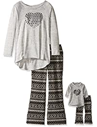 Dollie & Me girls Knit Tunic With Sequin Heart and Nordic Flare Legging