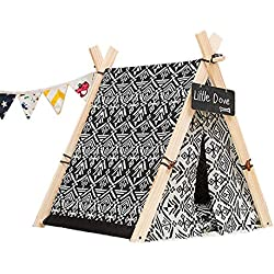 Yunqir Dog Bed Dog Cat Bed Tent House for Small Medium Pets Puppies Kittens Kennel with Thick Removable Washable Mat Cushion Solid Wood Durable Canvas Indoor Outdoor Easy to Clean Cushion Mat