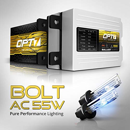 (OPT7 Bolt AC 55w H1 HID Kit - 5X Brighter - 6X Longer Life - All Bulb Sizes and Colors - 2 Yr Warranty [6000K Lightning Blue Xenon Light])