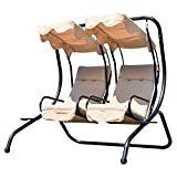 Outsunny Luxury Metal Swing Chair 2 Separated Seater Hammock Heavy-Duty with Canopy