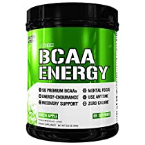 Evlution Nutrition BCAA Energy - High Performance Amino Acid Supplement for Anytime Energy, Muscle Building, Recovery and Endurance, Pre Workout, Post Workout (Green Apple, 65Servings)