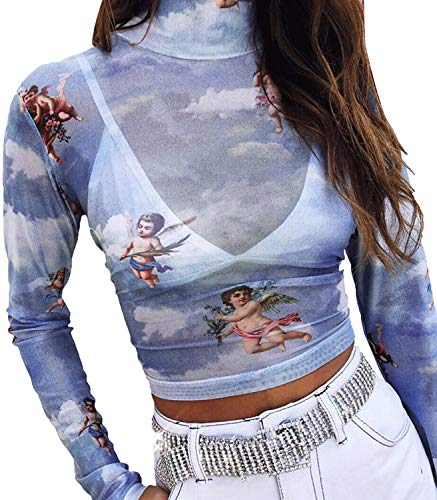 Women's Long Sleeve Mock Neck Angel Print Sexy Sheer Mesh Crop Top (Color : Blue, Size : M)