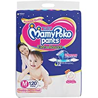 MamyPoko Pants Extra Absorb Diaper Monthly Jumbo Pack, Medium, 120 Diapers, Blue