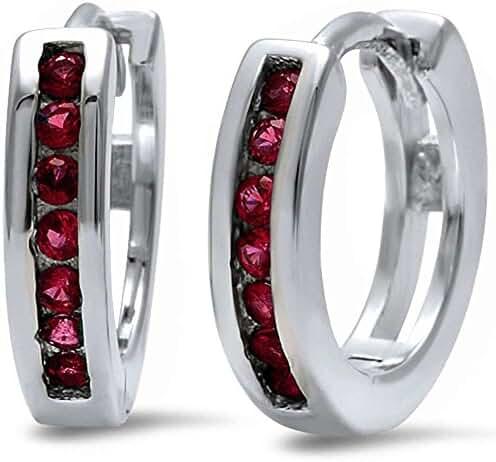 Round Simulated Ruby Hoop .925 Sterling Silver Earrings