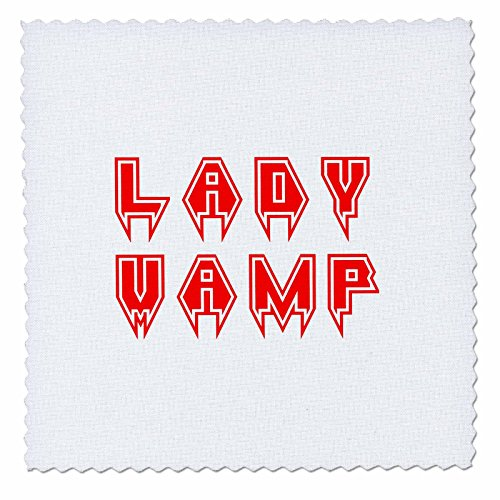 3dRose Alexis Design - Typography - Lady Vamp Stylish Text of red Color Against The White Background - 25x25 inch Quilt Square -