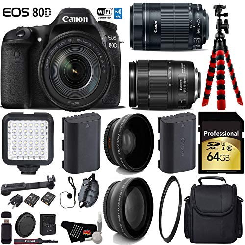 Canon EOS 80D DSLR Camera with 18-135mm STM Lens & 55-250mm is STM Lens + LED + UV FLD CPL Filter Kit + Wide Angle & Telephoto Lens + Camera Case + Tripod + Card Reader - International Version -  6Ave